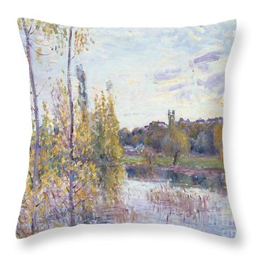 The Lake At Chevreuil Throw Pillow by Alfred Sisley