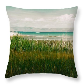 The Lake - Digital Oil Throw Pillow by Mary Machare