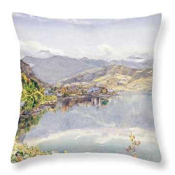 The Lake Of Lucerne, Mount Pilatus Throw Pillow by John William Inchbold