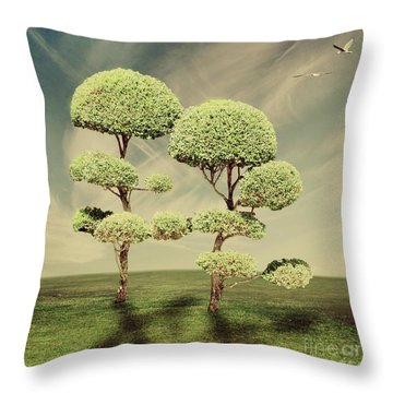 The Land Of The Lollipop Trees Throw Pillow by Linda Lees