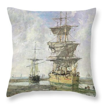 The Large Ship Throw Pillow by Eugene Louis Boudin