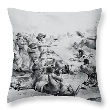 The Last Battle Of General Custer, 25th June 1876, C.1882 Litho B&w Photo Throw Pillow