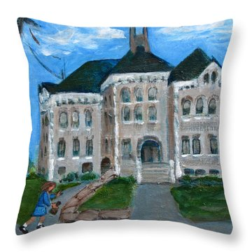 The Last Bell At West Hill School Throw Pillow by Betty Pieper