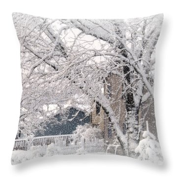 Throw Pillow featuring the photograph The Last Snow Storm by Kay Novy