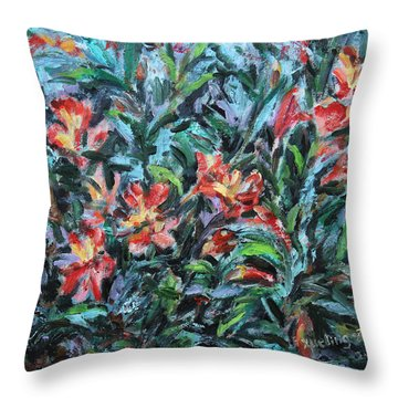 Throw Pillow featuring the painting The Late Bloomers by Xueling Zou