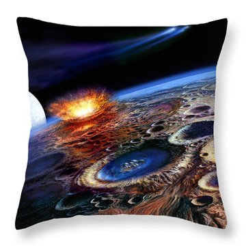 The Late Heavy Bombardment Throw Pillow by Don Dixon