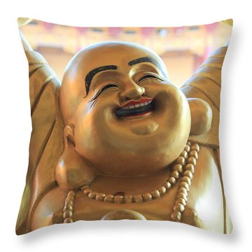 The Laughing Buddha Throw Pillow