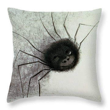 The Laughing Spider Throw Pillow by Odilon Redon