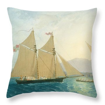 The Launch La Sociere On The Lake Of Geneva Throw Pillow
