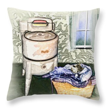Throw Pillow featuring the digital art The Laundry Room by Mary Almond