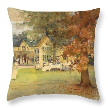 The Lawn Tennis Party Throw Pillow by Arthur Melville