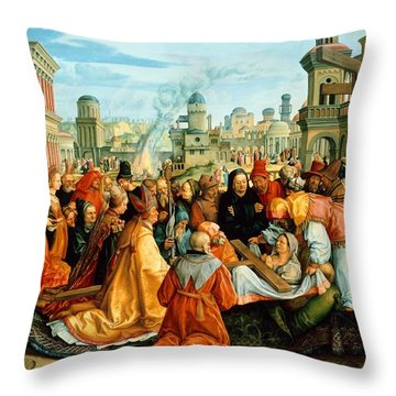 The Legend Of The Holy Cross Throw Pillow by Barthel Beham