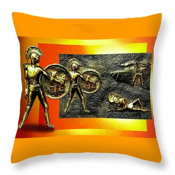 Throw Pillow featuring the relief The Legends Of Troy. . .  by Hartmut Jager
