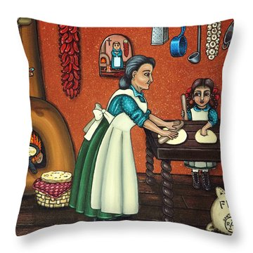 The Lesson Or Making Tortillas Throw Pillow