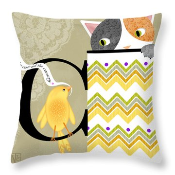The Letter C For Cat And Canary Throw Pillow