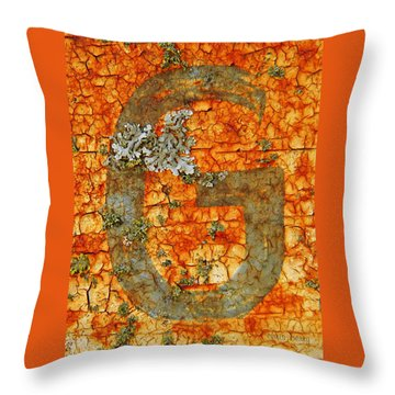 The Letter G With Lichens Throw Pillow by Chris Berry
