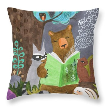 The Libearian Throw Pillow