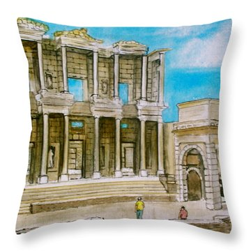 The Library At Ephesus Turkey Throw Pillow
