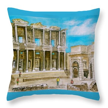 The Library At Ephesus Turkey Throw Pillow by Frank Hunter