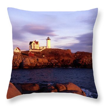 The Light On The Nubble Throw Pillow by Skip Willits