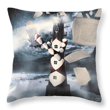The Lighthouse And The Fishermans Tale Throw Pillow