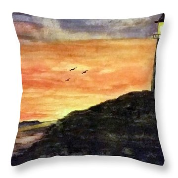 The Lighthouse At Dusk Throw Pillow