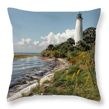 The Lighthouse At St. Marks Throw Pillow by Lynn Jordan