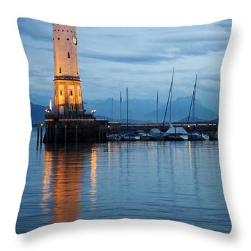 The Lighthouse Of Lindau By Night Throw Pillow