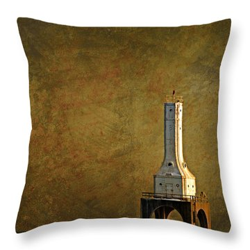The Lighthouse - Port Washington Throw Pillow by Mary Machare
