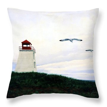 The Lighthouse Throw Pillow by Ron Haist