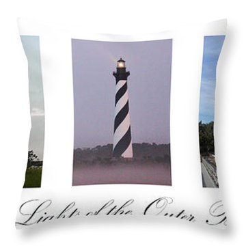 The Lights Of The Outer Banks Throw Pillow by Tony Cooper