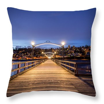 The Lights Of White Rock Beach - By Sabine Edrissi Throw Pillow