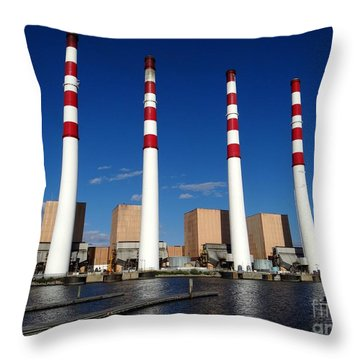 Throw Pillow featuring the photograph The Lilco Towers by Ed Weidman