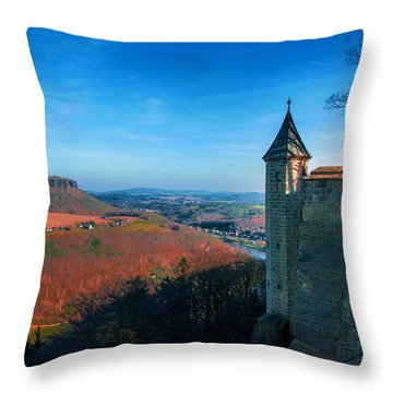The Lilienstein Behind The Fortress Koenigstein Throw Pillow