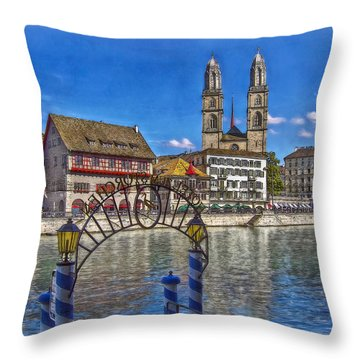 The Limmat City Throw Pillow by Hanny Heim