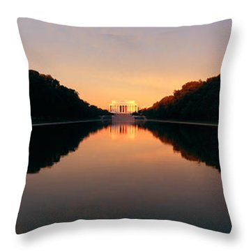 The Lincoln Memorial At Sunset Throw Pillow by Panoramic Images