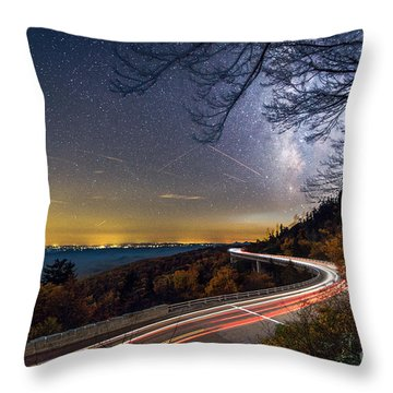 The Linn Cove Viaduct Milky Way Light Trails Throw Pillow