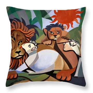 Throw Pillow featuring the painting The Lion And The Lamb by Anthony Falbo