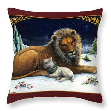 The Lion And The Lamb Throw Pillow