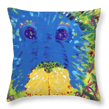 Throw Pillow featuring the painting The Lion Blooms In Springtime by Yshua The Painter