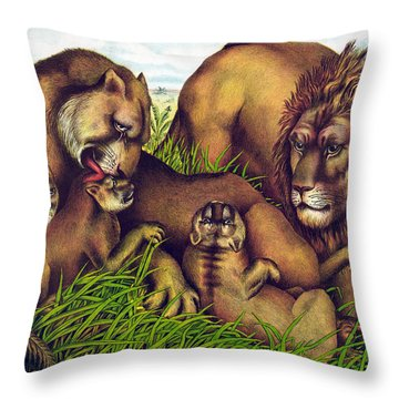 The Lion Family Throw Pillow by Georgia Fowler