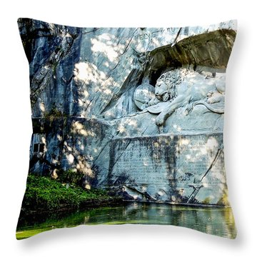 The Lion Monument In Lucerne Switzerland Throw Pillow