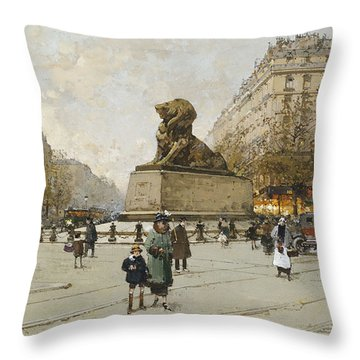 The Lion Of Belfort Le Lion De Belfort Throw Pillow by Eugene Galien-Laloue