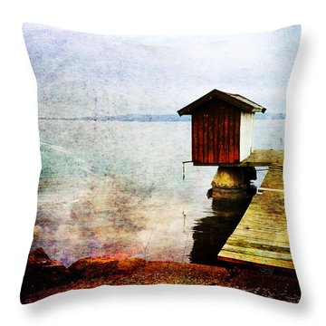 The Little Bath House Throw Pillow