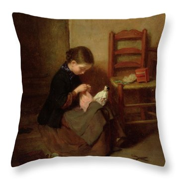 The Little Dressmaker Throw Pillow by Pierre Edouard Frere