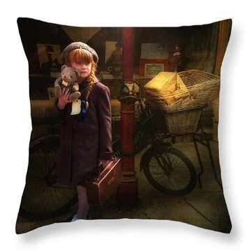 Throw Pillow featuring the photograph The Little Evacuee by Brian Tarr