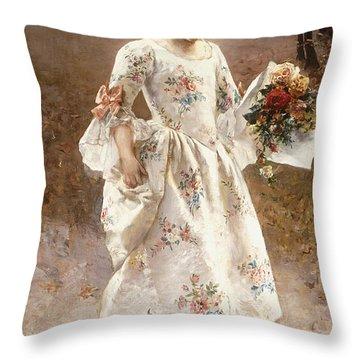 The Little Flower Girl  Throw Pillow by Albert Raudnitz