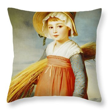 The Little Gleaner Throw Pillow by Christophe Thomas Degeorge