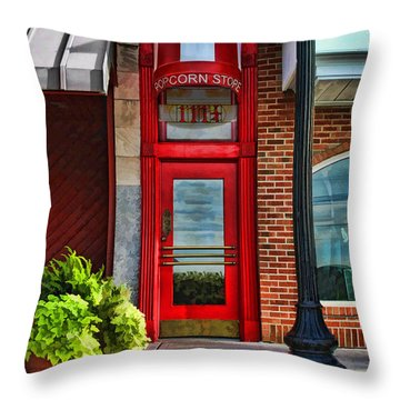 The Little Popcorn Shop In Wheaton Throw Pillow by Christopher Arndt