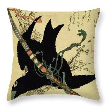 The Little Raven With The Minamoto Clan Sword Throw Pillow by Katsushika Hokusai